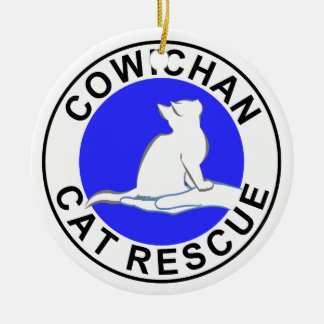 Cowichan Katzen-Rettungslogo Rundes Keramik Ornament