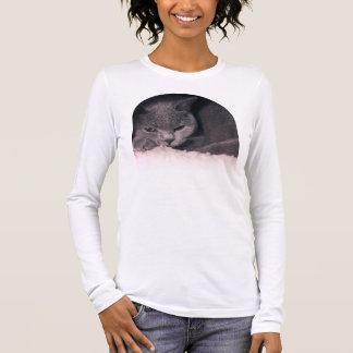 Cozy Katzen-lange Hülsen-amerikanisches Langarm T-Shirt