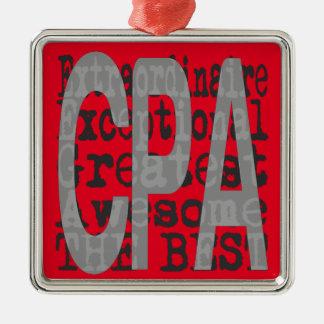 CPA Extraordinaire Quadratisches Silberfarbenes Ornament
