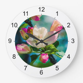 Crabapple Blume und Knospen Große Wanduhr