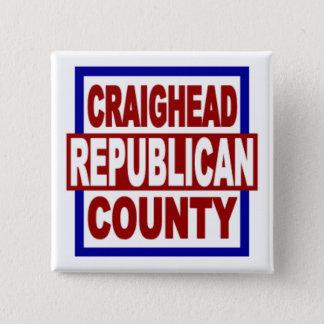"Craighead County Repubican 2"" x 2"" quadratischer Quadratischer Button 5,1 Cm"