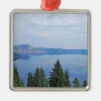 Crater See Oregon Quadratisches Silberfarbenes Ornament
