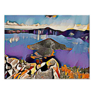 Crater See Yellowstone - Aquarell-Kunst-Druck Poster