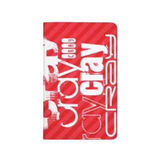 Cray; Scharlachrot Rot-Streifen- Taschennotizbuch