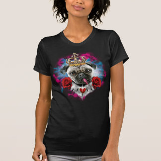 Crazy Pug the King / Mops mit Rosen + Krone Tshirt