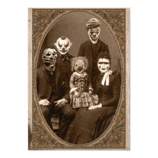 Creepy Clown-Familien-Halloween-Party 12,7 X 17,8 Cm Einladungskarte