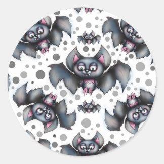 Creepy niedliches Schläger-Muster Runder Aufkleber