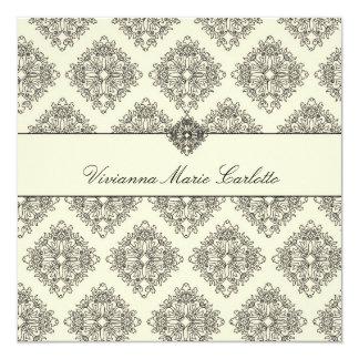 Creme 311-Vivianna u. schwarze Damast-Einladung Quadratische 13,3 Cm Einladungskarte