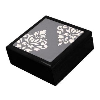 Creme der Rolle-Damast-Kunst-I auf Grau Geschenkbox