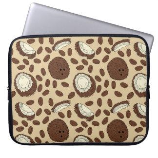 Creme Kokosnuss-Kaffeebohne-Muster-Browns TAN Laptop Sleeve