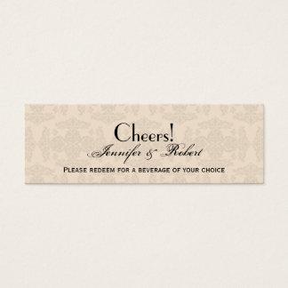 Creme-und Golddamast-Hochzeits-Getränk-Karte Mini Visitenkarte