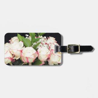 Cremefarbener rosa Rosen-Blumenstrauß Gepäckanhänger
