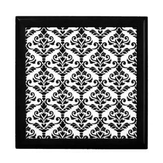 Cresta Damast-Muster-Schwarzes auf Weiß Erinnerungskiste