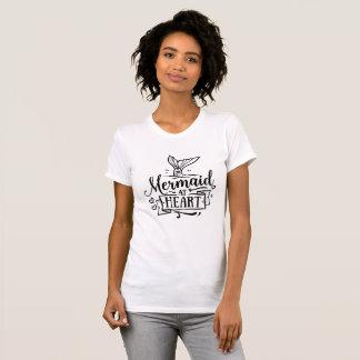Crew-Hals-T - Shirt - Meerjungfrau am Herzen