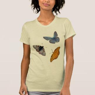 Crewhals mit 4 Schmetterlingen T-Shirt