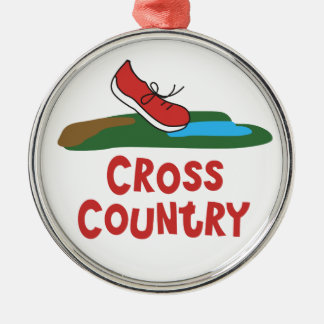 Cross Country-laufendes Andenken Rundes Silberfarbenes Ornament