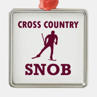 Cross Country-Ski-Snob Silbernes Ornament