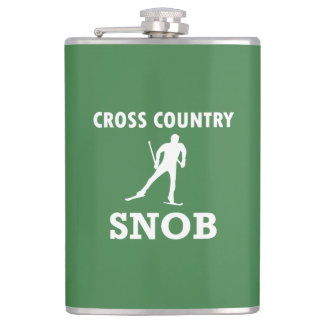 Cross Country-Ski-Snob (weißes Logo) Flachmann