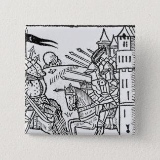 Crusading reiten Ritter heraus, um Kampf zu tun Quadratischer Button 5,1 Cm