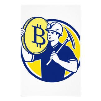 Cryptocurrency Bergmann Bitcoin Kreis Retro Briefpapier