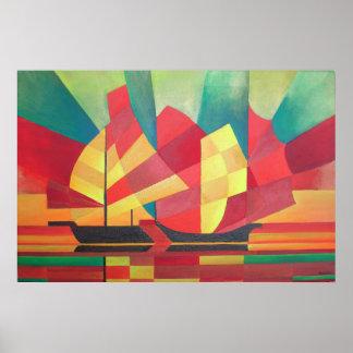 Cubist abstrakt von den Kram-Segeln und von den Poster