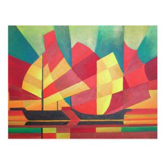 Cubist abstrakt von den Kram-Segeln und von den Postkarte