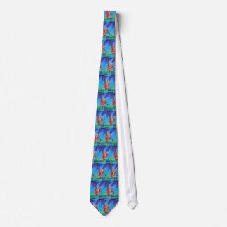 Cubist-abstraktes Kram-Boot gegen tiefen blauen Krawatten