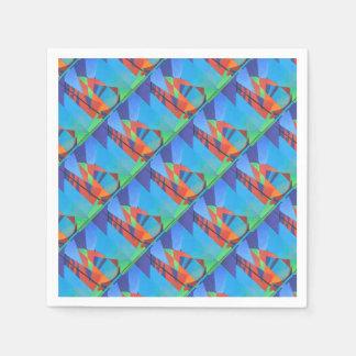 Cubist-abstraktes Kram-Boot gegen tiefen blauen Papierserviette