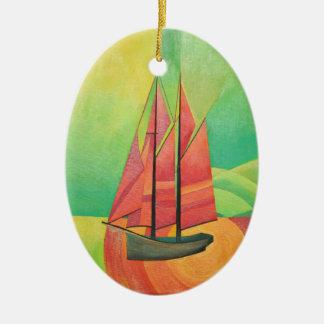 Cubist-abstraktes Segeln-Boot Ovales Keramik Ornament