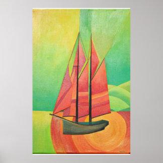 Cubist-abstraktes Segeln-Boot Poster