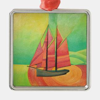 Cubist-abstraktes Segeln-Boot Quadratisches Silberfarbenes Ornament