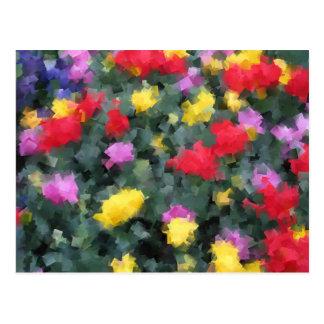 Cubist-Blumen Postkarte