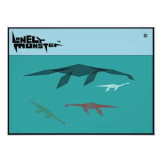 Cubist-einsame Monster-Familie Fotodruck
