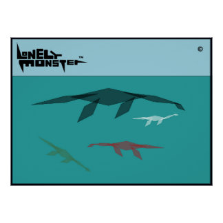 Cubist-einsame Monster-Familie Poster