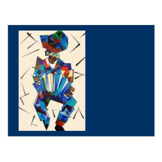 Cubist-Porträt von Accordian Spieler abgeschieden Postkarte