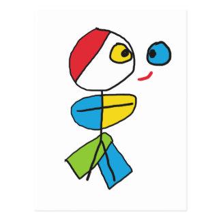 Cubist Stickman Postkarte
