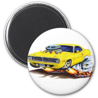 Cuda gelbes Auto 1970 Runder Magnet 5,1 Cm