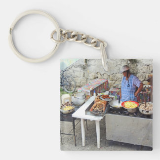 Cuenca-Bürgersteig Café-Gegrilltes Schweinefleisch Beidseitiger Quadratischer Acryl Schlüsselanhänger