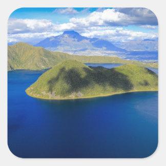 Cuicocha Kratersee und Insel, Ecuador Anden Quadrat-Aufkleber