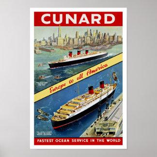 Cunard Europa nach alles Amerika Poster
