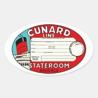 Cunard Linie Gepäck-Aufkleber Ovaler Aufkleber