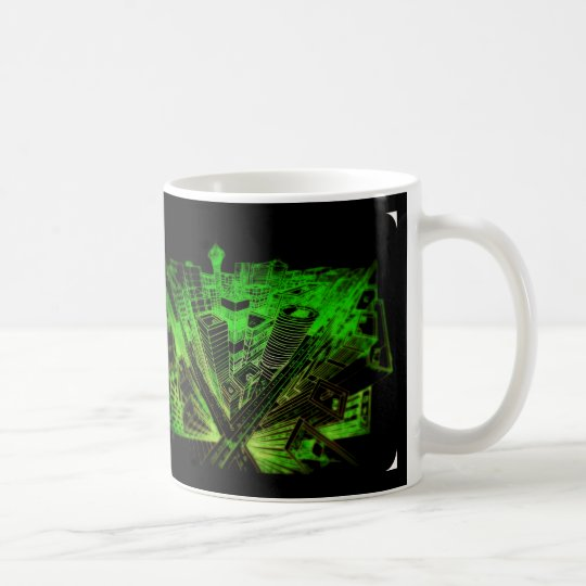 cup - city 3 point perspective neon green kaffeetasse