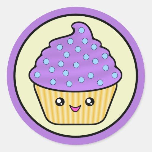 Cuppy Kuchen lila Kawaii Aufkleber