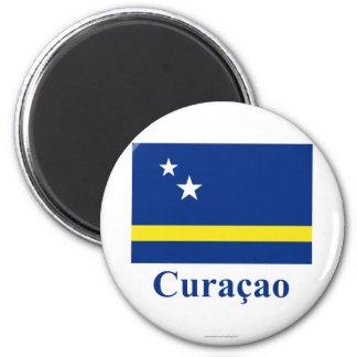 Curaçao kennzeichnen mit Namen auf Holländer Runder Magnet 5,1 Cm