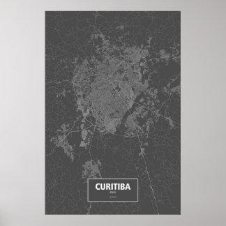 Curitiba, Brasilien (weiß auf Schwarzem) Poster