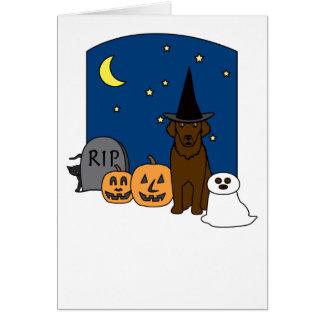 Curly-Coated Retriever Halloween Karte