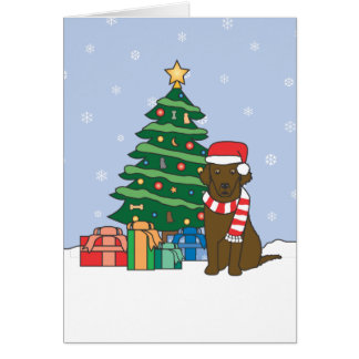 Curly-Coated Retriever-und Weihnachtsbaum Karte