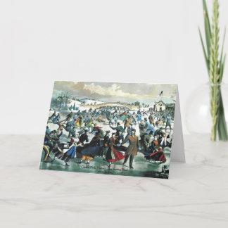 Currier & Ives - Greeting Card - Central Park Pond