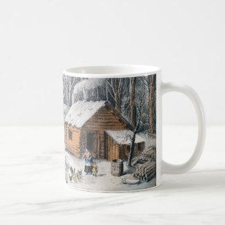 """Currier und Ives """"ein Zuhause in der Wildnis"""" Kaffeetasse"""