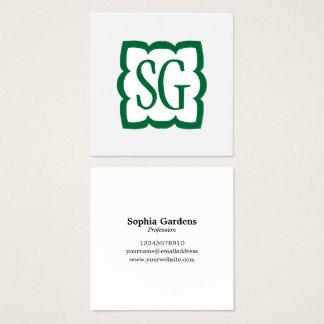 Curvy Kasten 03 - Initialen - Forest Green Quadratische Visitenkarte